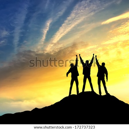 Climbers team on the top. Sport and active  life concept - stock photo