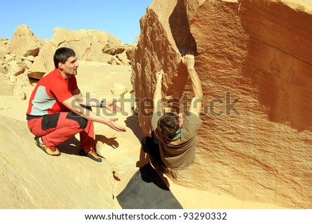 Climbing Jordan, Wadi Rum. - stock photo