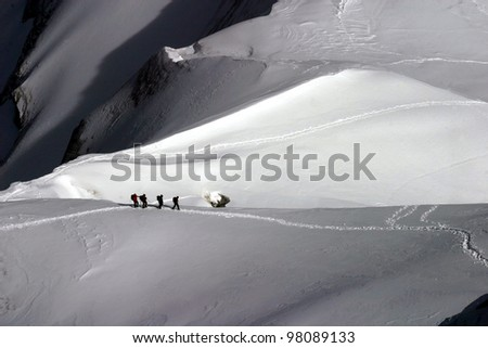 Climbing Mont Blanc, French Alps, France. This picture was taken from the top of the Mount Aiguille de Midi - stock photo