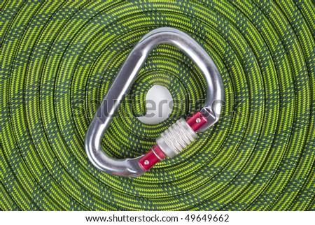 Climbing  Rope and carabine - stock photo