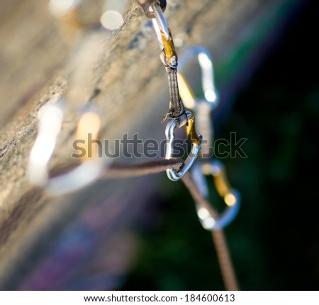 Climbing rope carbines. close up of - stock photo