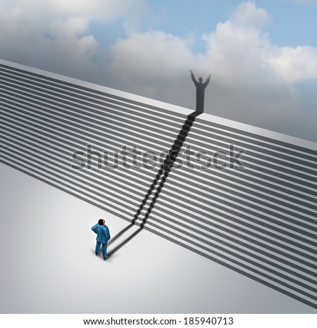 Climbing stairs stairway concept as a cast shadow of a businessman climbs the ladder of success staircase icon as a business aspirations metaphor for moving up on faith vision and positive thinking. - stock photo