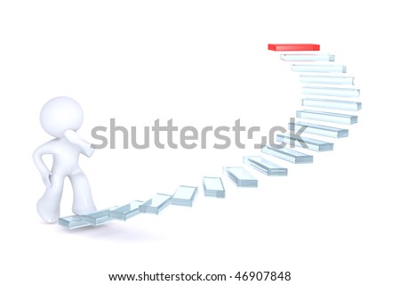 Climbing the career ladder - stock photo
