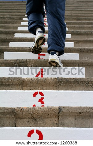 Climbing the Stairs - stock photo