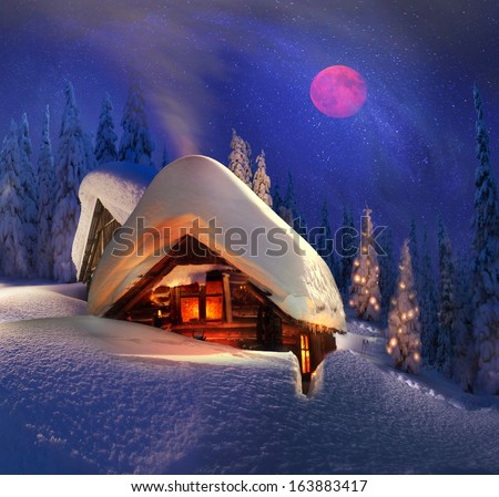 Climbing to tourist wild alpine mountain to an abandoned cabin-in order to illuminate the snow-covered spruce canopy during moonrise, moonset, to see the first star of Christmas in the Carpathians  - stock photo