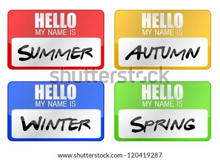 clime seasons name tags illustration design over white - stock photo