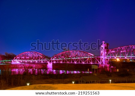 Clinton Library walking Bridge, Little Rock, Arkansas - stock photo