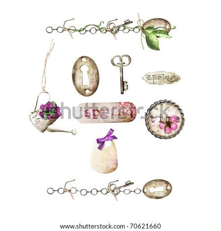 Clip-art elements: key hole, key, chains, tags - stock photo