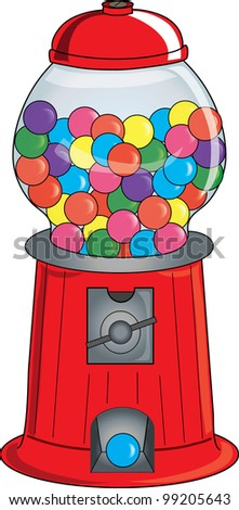Clip Art Illustration of an old fashioned gumball machine. - stock photo