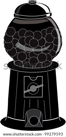 Clip Art Illustration of an old fashioned gumball machine silhouette. - stock photo