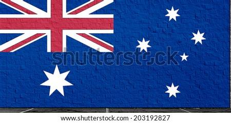 Clip Art National Flag Of Australia On A Wall - stock photo