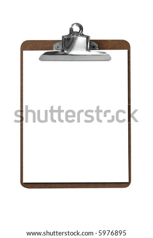 Clip board with blank paper isolated over white with a clipping path - stock photo