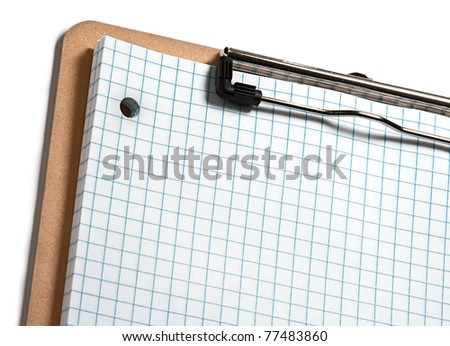 Clip board with grid paper and white  border - stock photo