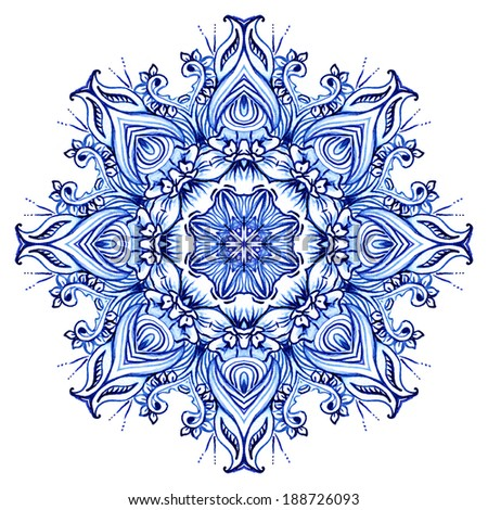 Clipart Watercolor Lace. Doily round lace pattern - stock photo