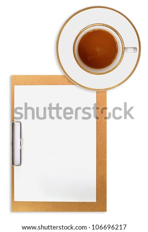 clipboard and cup of coffee on white background - stock photo