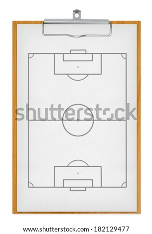 clipboard and football field, with clipping paths - stock photo