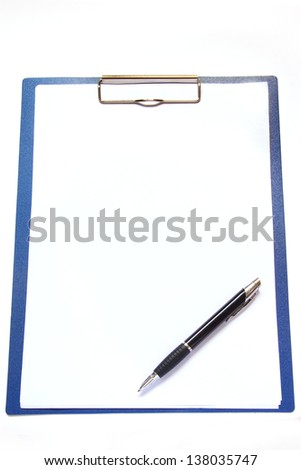 Clipboard and pen isolated on white background. - stock photo