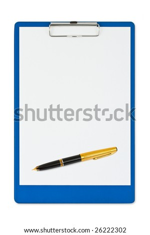 Clipboard and pen isolated on white background - stock photo