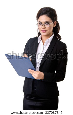 clipboard in the business woman's hands - stock photo