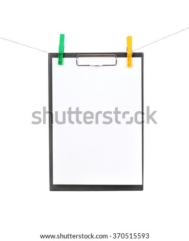 clipboard on a rope isolated on white - stock photo