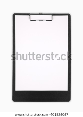Clipboard with a blank sheet of paper isolated on white background - stock photo