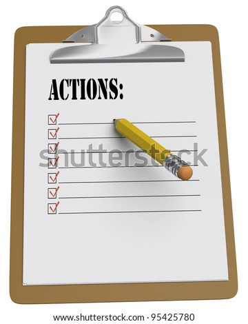 Clipboard with Actions List and a stubby pencil on a white background - stock photo