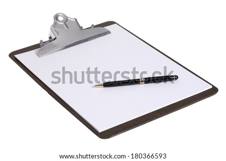 Clipboard with blank white piece of paper and black pen on white background - stock photo