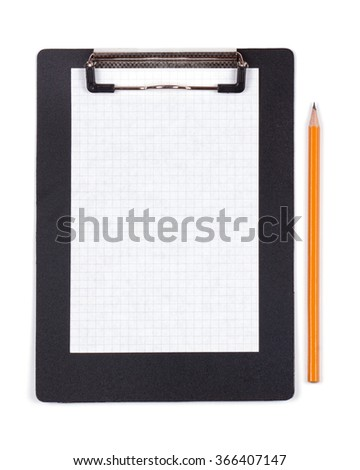 Clipboard with blank white piece of paper and black pencil on white background - stock photo