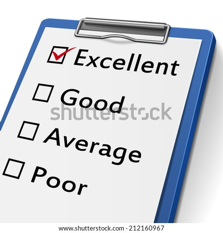clipboard with check boxes marked for excellent, good, average and poor - stock photo