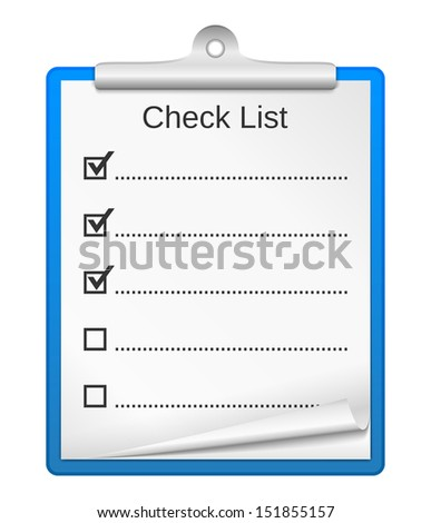Clipboard with check list - stock photo