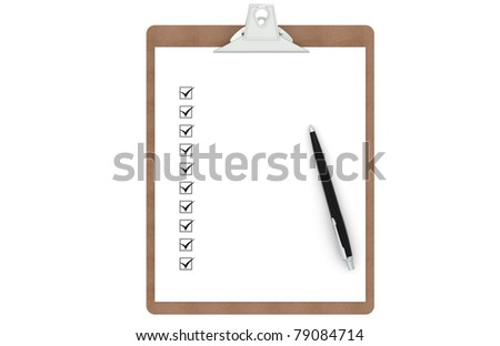 Clipboard with Checklist and Pen. Front view. - stock photo