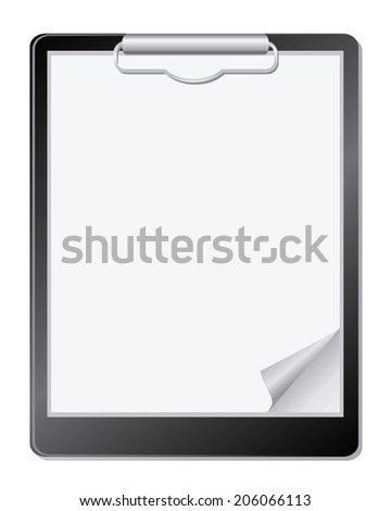 Clipboard with paper. - stock photo
