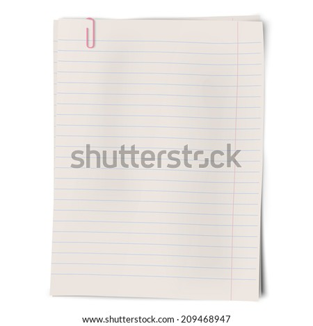 Clipped pile of lined sheets of notebook paper isolated on white background. Raster version illustration. - stock photo
