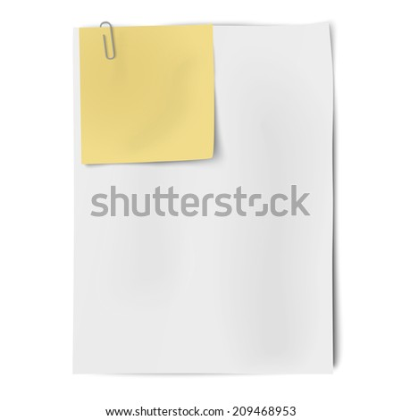 Clipped sheets of sticky note and A4 white paper. Raster version illustration. - stock photo