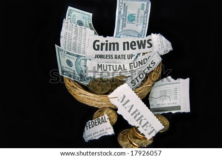 clipping and money in nest - stock photo