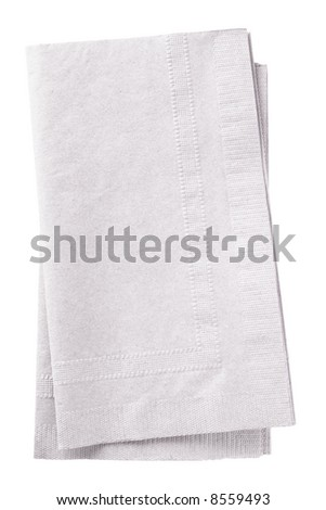 Clipping path included. Stack of two white napkins. - stock photo