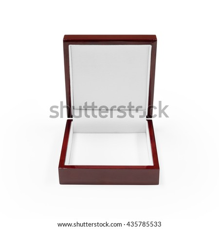 Clipping path jewelry box on white background. Crimson luxury accessory package. - stock photo