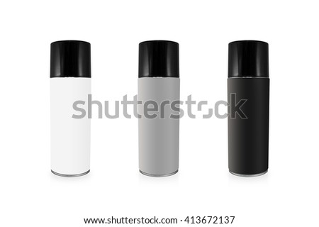 Clipping path spray can set on isolated background. Blank chemical package for your design. - stock photo