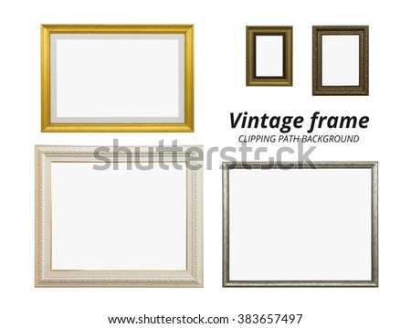 Clipping path vintage frames collection on white background. - stock photo