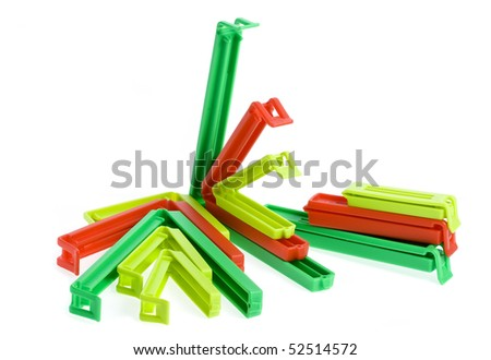 clips packages isolated on white - stock photo