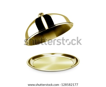 Cloche and platter with open lid - stock photo