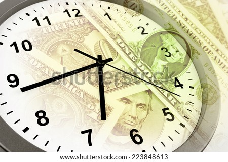 Clock and banknotes. Time is money concept - stock photo