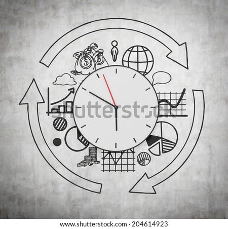 Clock and business development concept, clock arrows and different stages of business development.  - stock photo