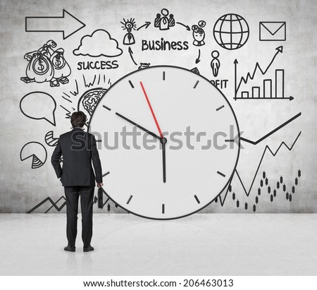 Clock and business development concept, clock arrows and different stages of business development. Businessman and the business forecast. - stock photo