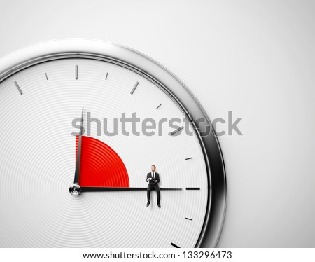Clock and businessman sitting on minute hand with cup of coffee. Lunch time concept. - stock photo