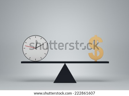 Clock and dollar sign balancing on a seesaw - stock photo