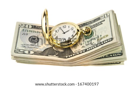 clock and dollars on a white background. - stock photo