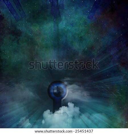 Clock and eye abstract - stock photo