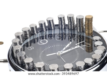 Clock and money. Time is money concept.  - stock photo