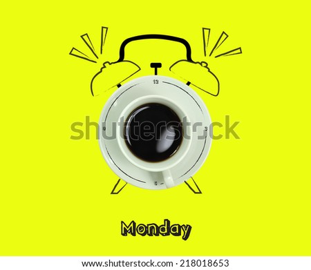 clock. cup of fresh espresso with clock sign, with yellow background of the Monday. - stock photo
